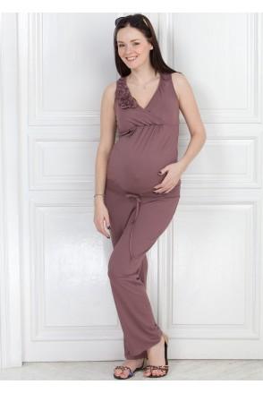 Комбінезон КВ 01 темно-бежевий для вагітних і годуювання