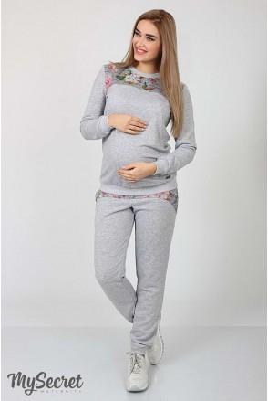 Спортивні штани Noks сірий меланж + принт квіти на сер.меланже для вагітних