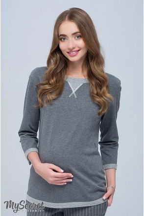 Свитшот GIGI SW-38.091 темно-серый меланж с люрексом для беременных и кормящих
