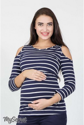 Лонгслів Nadina синьо-біла смужка для вагітних і годування