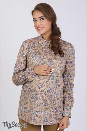 Сорочка Noni принт «квіти» на бежевому фоні для вагітних
