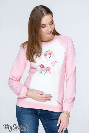 Світшот Spirit NR-19.082 поєднання рожевого з молочним для вагітних і годування