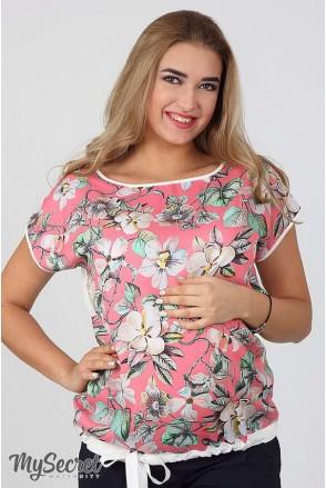 Блуза Vlada принт квіти на коралі для вагітних