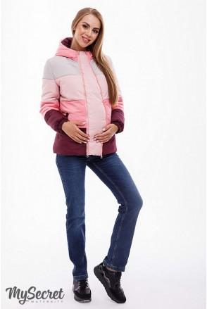 Демисезонная куртка Sia (сочетание марсалы, розового, пудрового и бежевого) для беременных