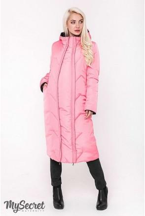 Зимнее двухстороннее пальто Tokyo (черный и теплый розовый) для беременных