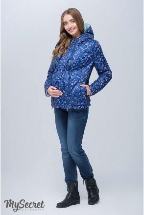 Демисезонная двухсторонняя куртка Floyd (синий с принтом цветы + пыльная мята) для беременных