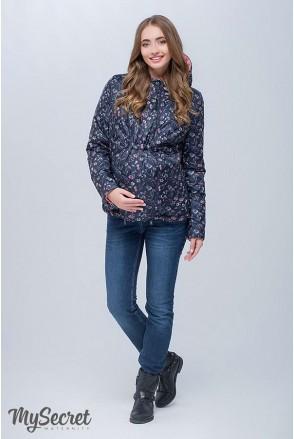 Демисезонная двухсторонняя куртка Floyd (темно-синий с принтом цветы + коралловый) для беременных