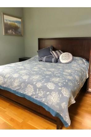 Плед муслиновый Голубовато-джинсовый в цветы