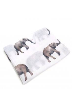 Пеленка муслиновая Серые слоники