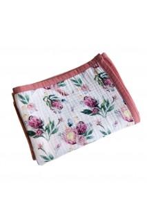Плед муслиновый 8 слоев Розовые цветы