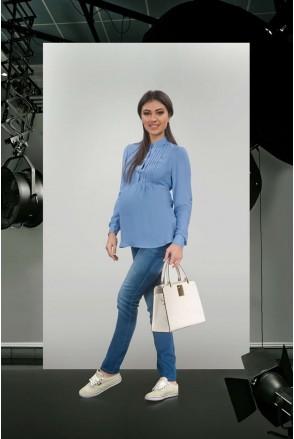 Джинсы с декоративной резинкой 1607 0000 синий для беременных
