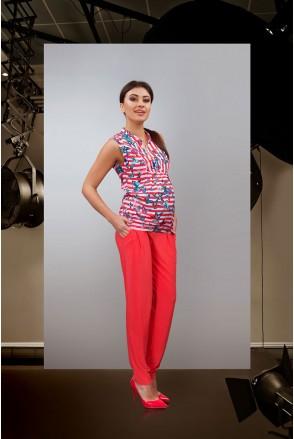 Блуза красно-белая 1610 0084 для беременных