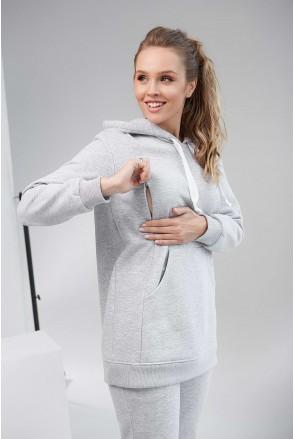 Худи с капюшоном утепленное 2105 1433 серый для беременных и кормления