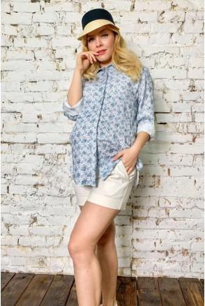 Рубашка 2038 1326 голубой для беременных и кормления