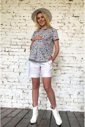 Рубашка 2034 0000 цветной принт для беременных и кормления