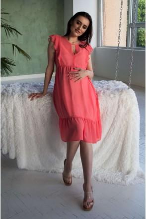 Платье коралловое 2062 0000 для беременных