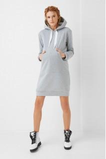 Платье-худи арт. 1996 0001 серый для беременных и кормящих