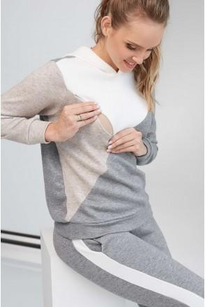 Кофта с капюшоном 2104 1093 серый с белой вставкой для беременных и кормления