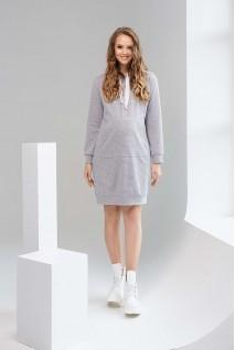 Платье-худи 1996 1316 серый для беременных и кормления