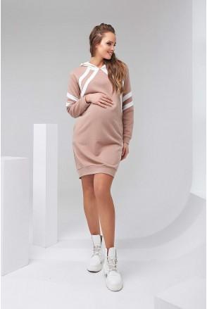 Платье-худи 2143 1501 бежевый для беременных и кормления
