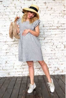 Платье 2046 1352 бело-голубой для беременных и кормления