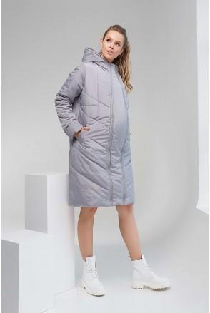 Зимняя куртка 1893 1436 2 в 1 серый Amy для беременных
