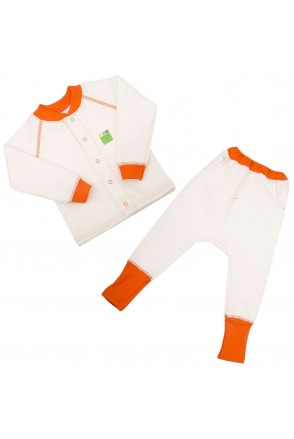 Дитячий комплект 2в1 Еко Пупс Jersey Style Капітон (кофта, штани) (молочний)