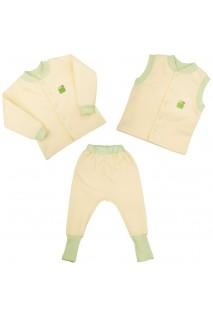Детский комплект 3в1 Еко Пупс Jersey Style капитон (кофта, брюки, жилетка) (Лимон)