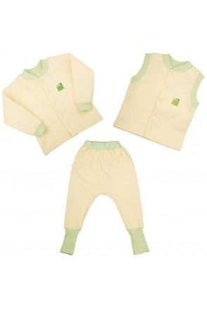 Дитячий комплект 3в1 Еко Пупс Jersey Style Капітон (кофта, штани, жилетка) (Лимон)