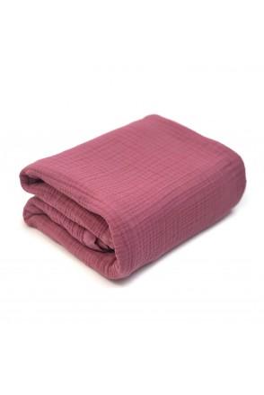 Плед муслиновый с утеплителем Розовый