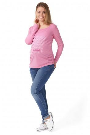 """Лонгслів """"Тутсі"""" рожевий меланж для вагітних і годування"""
