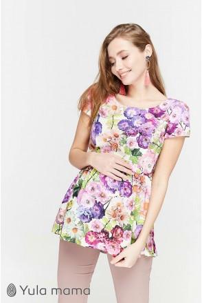 Блуза Remy екрю з яскравими квітами для вагітних і годування
