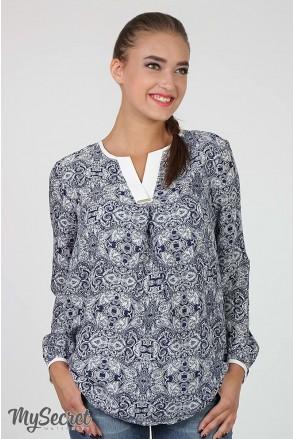 Блузка Kameya молочний візерунок на синьому для вагітних