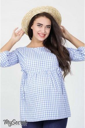 Блуза Shade бело-голубая клетка для беременных и кормящих