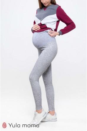 Лосины Berta new теплые серый маланж для беременных