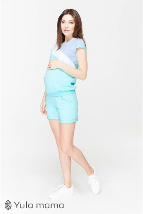 Костюм Ibiza сочетание аквамаринового с голубым и белым для беременных и кормящих