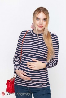 Лонгслив Poppy крупная сине-белая полоска с красными полосочками для беременных и кормящих