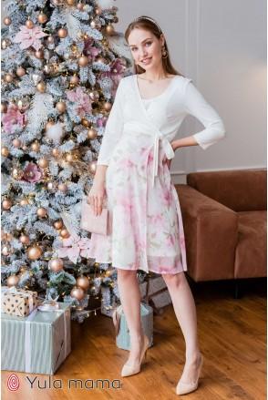 Платье Scarlett молочный с розовыми цветами для беременных и кормления