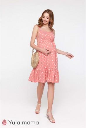 Сарафан Carol темно-розовый с молочным горошком для беременных и кормления
