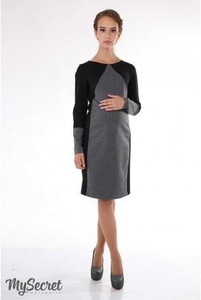 Сукня Charlotte чорний з сірим меланжем для вагітних і годуючих