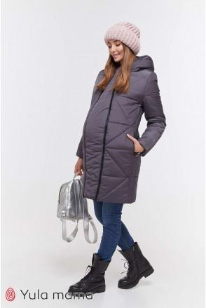 Зимнее теплое пальто ANGIE графит для беременных