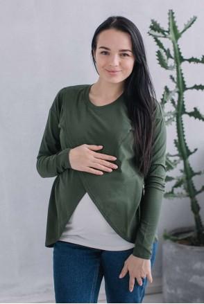 Топ с запахом Оливковый для беременных и кормящих