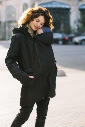 Демісезонна слінгокуртка 4 в 1 Чорна для вагітних і слінгоносіння