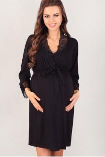 Халат 3026 черный для беременных и кормления