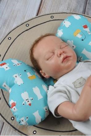 """Детская подушка для новорожденных """"Butterfly"""" мишка белый"""