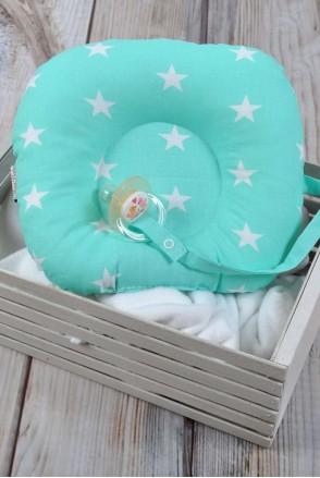 Детская подушка для новорожденных с держателем мятная с белыми звездами