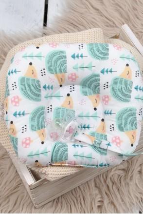Детская подушка для новорожденных с держателем Ёжик в тумане