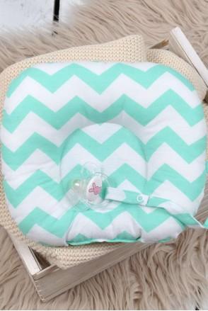 Дитяча подушка для новонароджених з тримачем М'ятний зигзаг