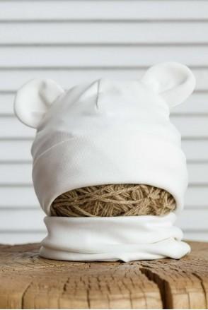 Набор шапка с манишкой Bruin молочный
