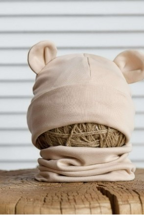 Набор шапка с манишкой Bruin бежевый